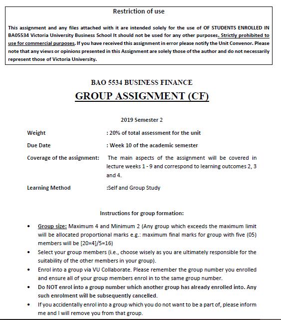 corporate coursework assessment sample