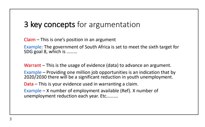 3 key concepts of argumentation