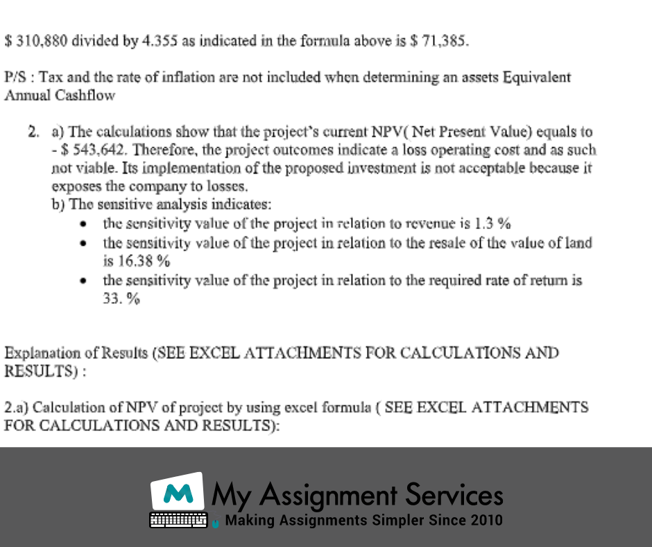 capital budgeting assignment sample 4