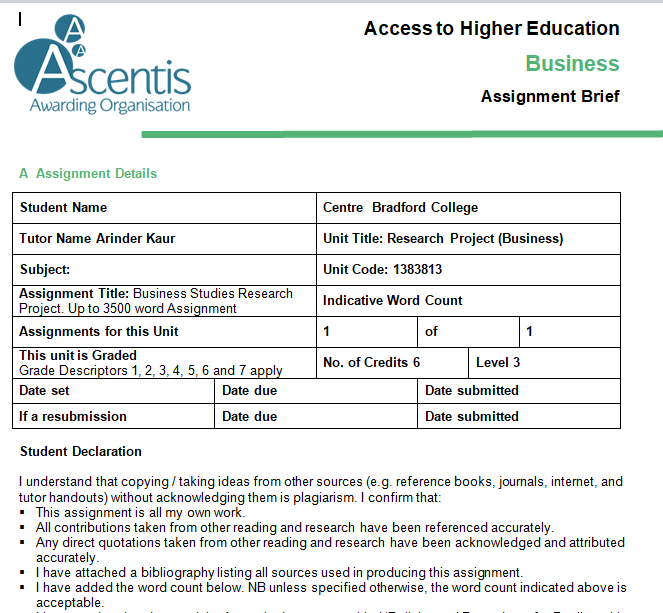 Business Studies Coursework Assessment Sample