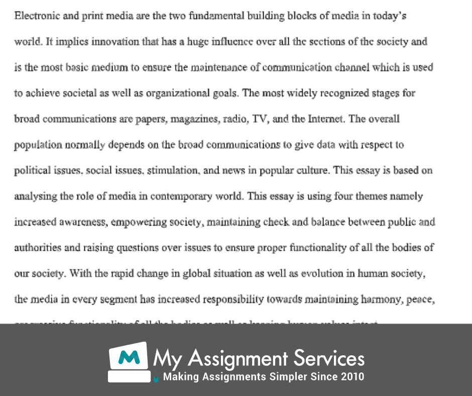 media essay writing sample