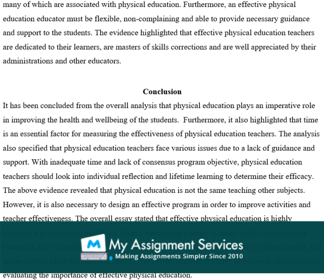 physical education essay assessment solution sample 5