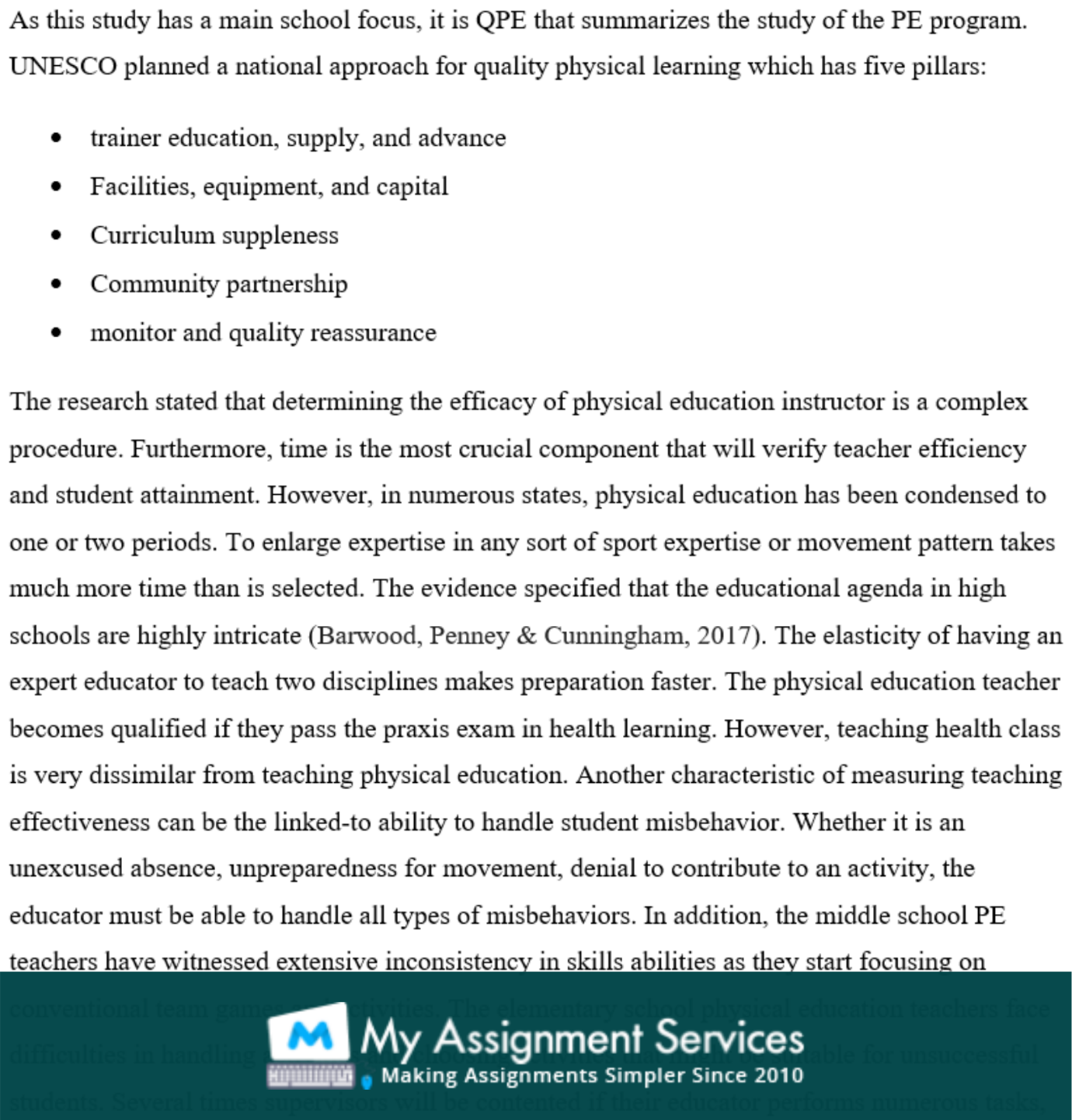 physical education essay assessment solution sample 4