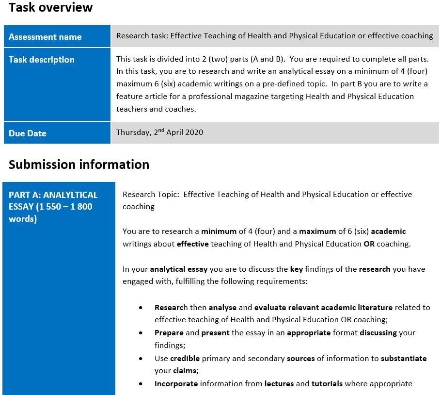 physical education essay assessment sample