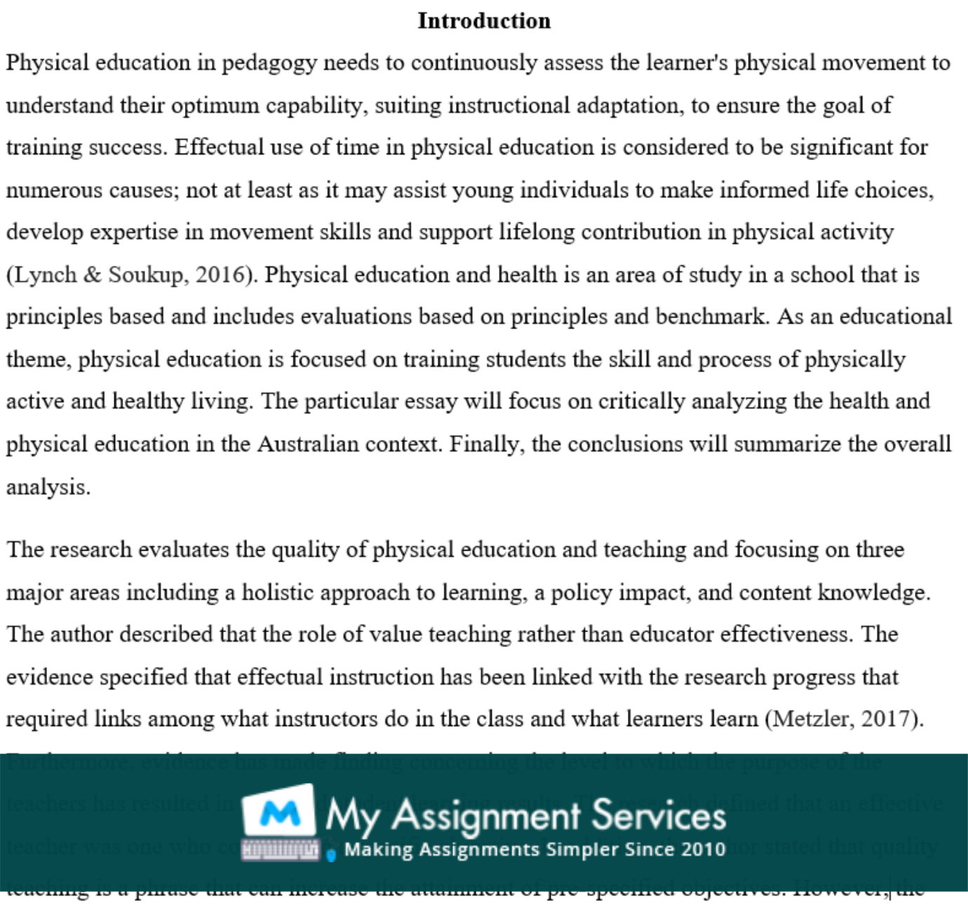 physical education essay assessment solution sample
