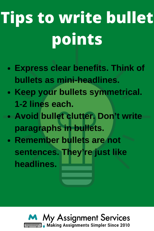 tips to write bullet points