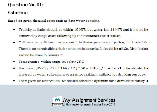 Water and Waste Water treatment dissertation help