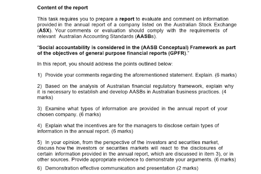 Financial Reporting Assignment help Sample