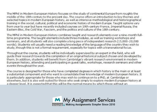 Modern European  History  Dissertation help