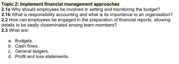 business budgets assignment