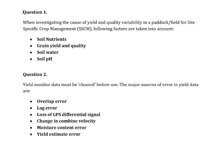 Crop Production Systems assignment sample
