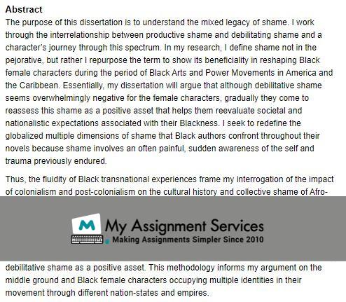 Literature-based Dissertation sample