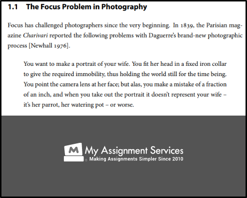 focus problem in photography