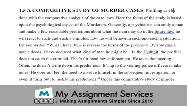 comparitive study of murder cases