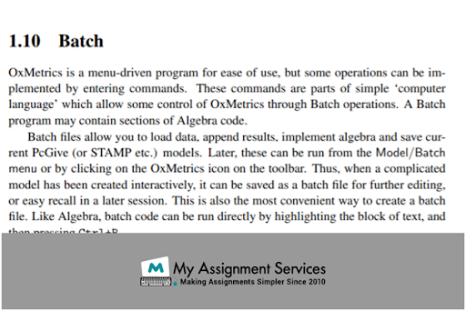 OxMetrics Assignment Sample