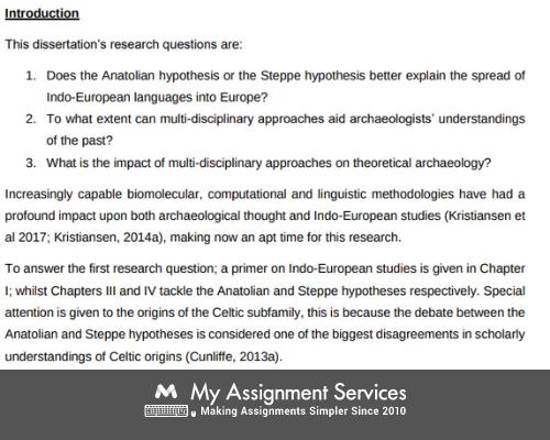 Dissertation History introduction