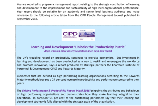 CIPD Assignment Sample