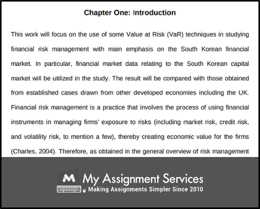 chapter one - Introduction of finance dissertation
