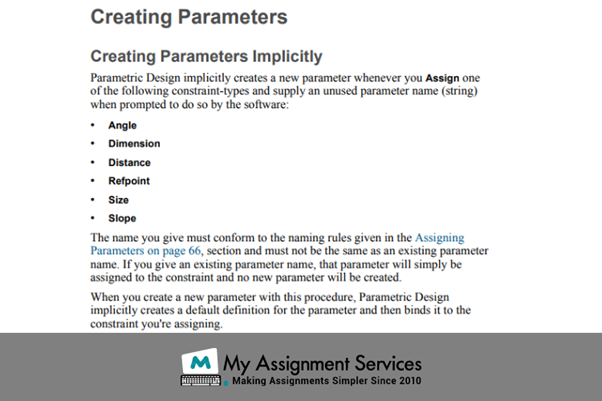 CREO Assignment creating parameters