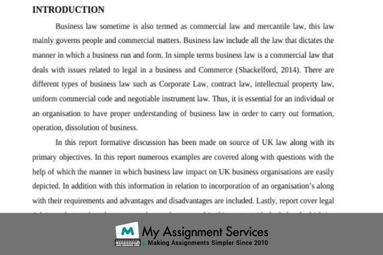 commercial law assignment sample