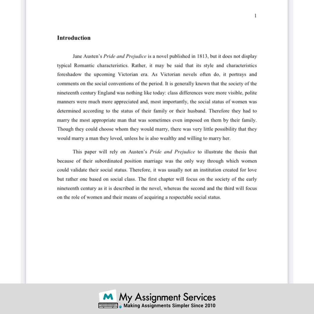 sample analysis of an English Literature college assignment