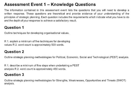 Online Strategic Planning Assignment Help