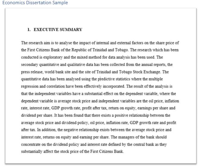 Economics Dissertation Sample