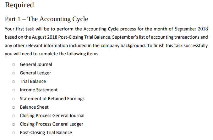 Finance Assignment Sample - Accounting Cycle