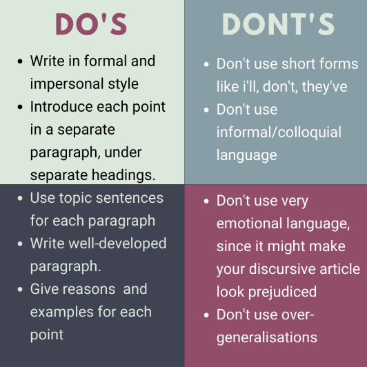 Discursive essay do's and don'ts
