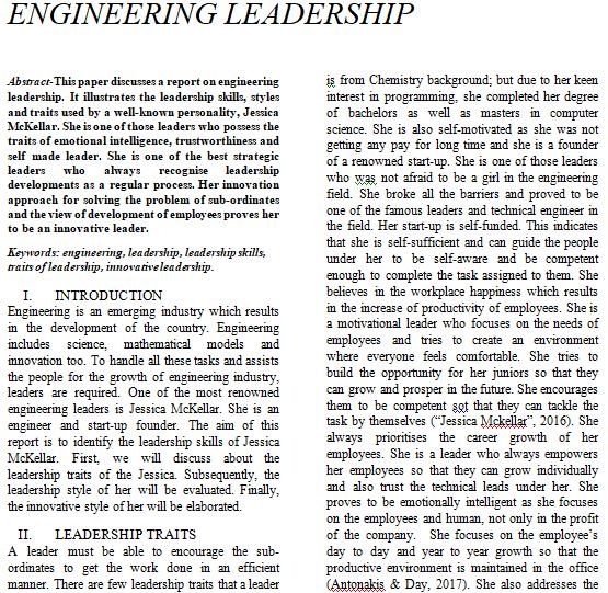 engineering leadership sample