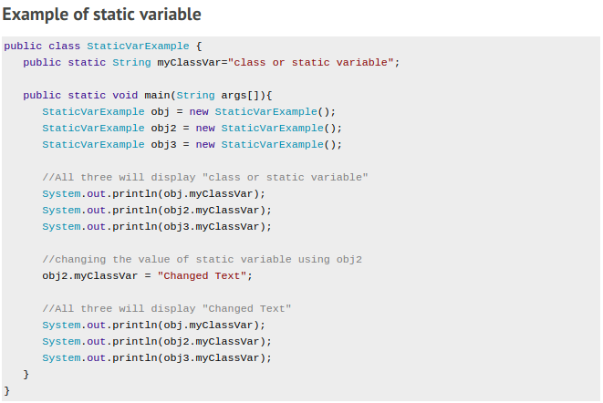 Static or class variable