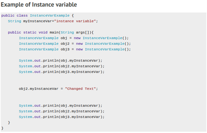 Instance variable