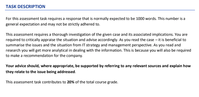 coursework assessment task description