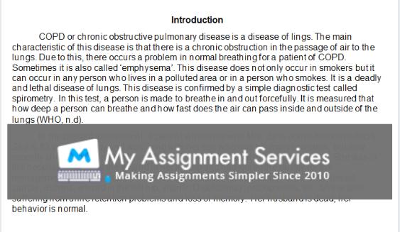 university nursing coursework assessment answer sample