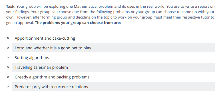 maths coursework assessment sample