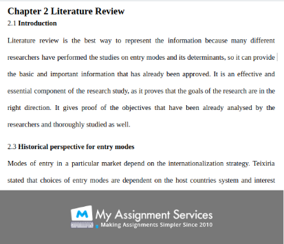 dissertation literature review sample