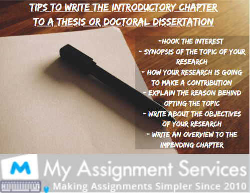 Tips To Write The Introductory Chapter To A Thesis Or Doctoral Dissertation