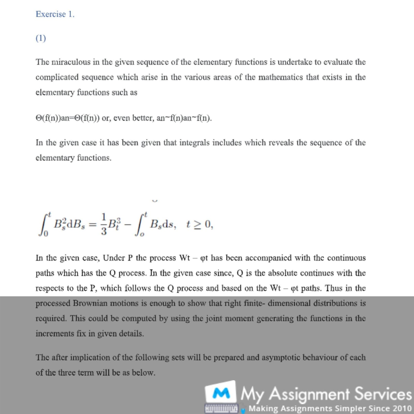 math assignment solution sample