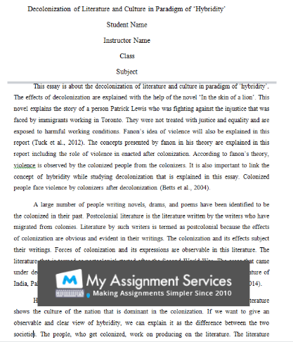 English Literature Coursework Assessment Sample
