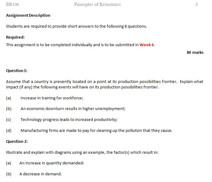 economics coursework assessment sample